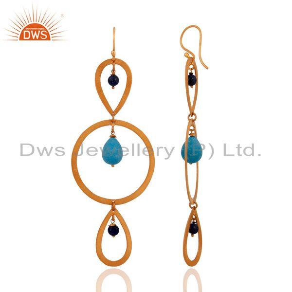 Exporter Gorgeous 18k Gold Plated Turquoise Gemstone Sterling Silver Ladies Hook Earrings