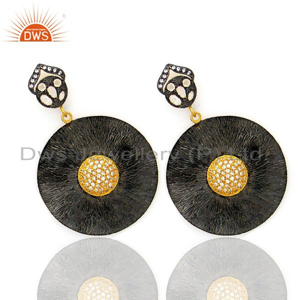 Exporter Oxidized And 18K Gold Plated Brass Cubic Zirconia Disc Fashion Dangle Earrings