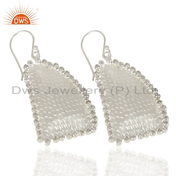 Exporter Handmade Design 925 Sterling Silver CZ Hammered Dangle Earrings Gemstone Jewelry