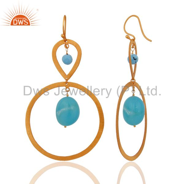 Exporter 24k Gold Plated 925 Sterling Silver Turquoise Gemstone Beads Circle Earrings