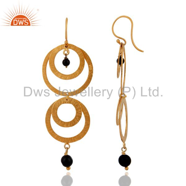 Exporter 24k Gold over Sterling Silver With Brushed Multi Circle Earrings With Black Onyx