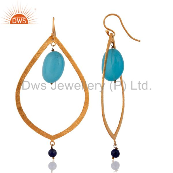 Suppliers Satin Finsh 925 Sterling Silver Gold Plated Blue Aqua Chalcedony Drop Earrings