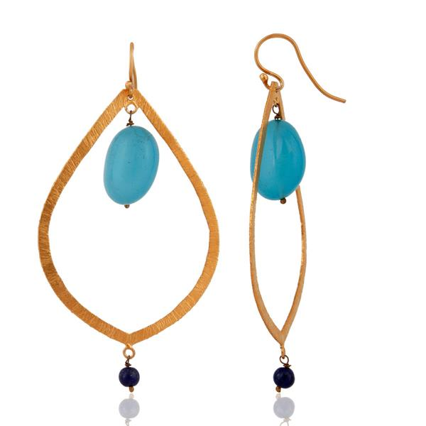 Exporter Satin Finsh 925 Sterling Silver Gold Plated Blue Aqua Chalcedony Drop Earrings