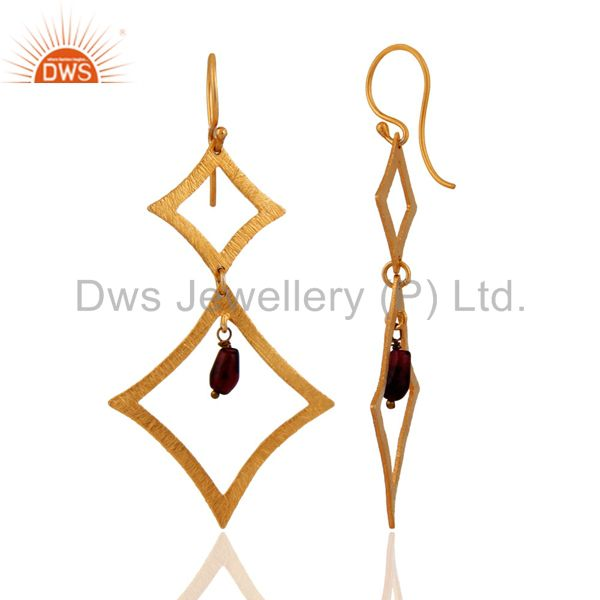 Exporter 925 Sterling Silver Garnet Gemstone Brushed 24Karat Gold Plated Dangle Earrings