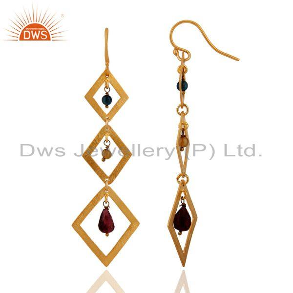 Exporter Handmade 925 Sterling Silver Brushed 14k Gold Plated Tourmaline Gemstone Earring
