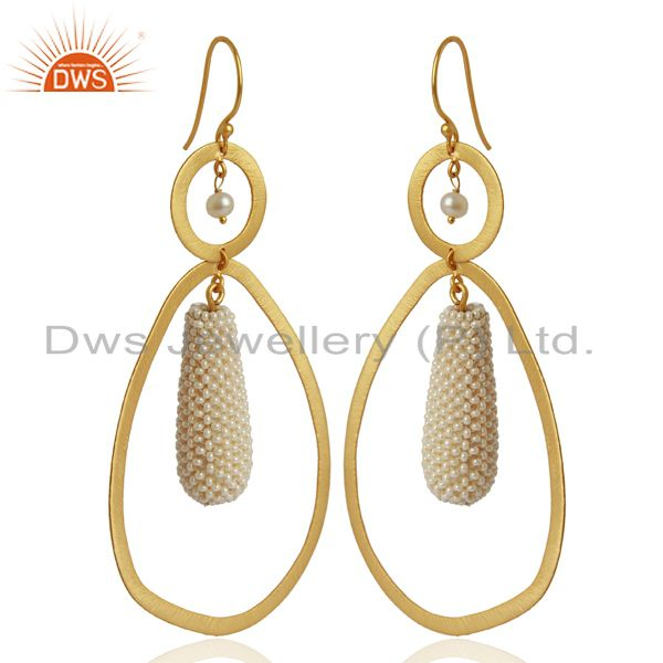 Exporter Natural Pearl Gemstone Gold Plated 925 Silver Handmade Earrings