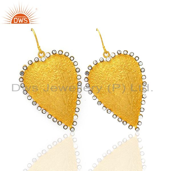 Exporter 22K Yellow Gold Plated Sterling Silver Cubic Zirconia Heart Designer Earrings