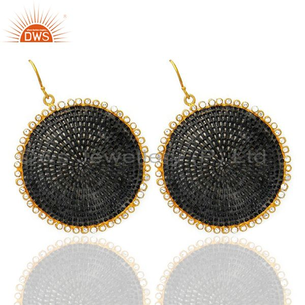Exporter 22K Gold Plated And Oxidized Brass Hammered Disc Dangle Earrings With CZ