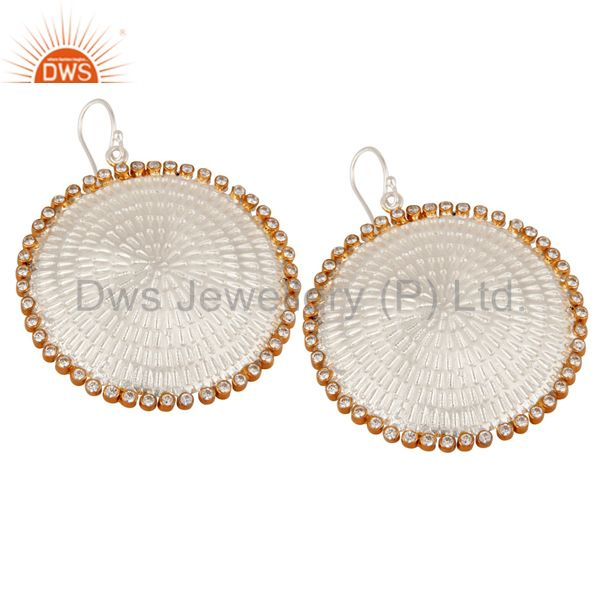 Exporter Indian Handmade Textured Sterling Silver White Cubic Zirconia Designer Earrings