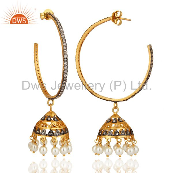 Exporter 18K Gold Plated 925 Sterling Silver Pearl & White Zircon Fashion Jhumka Earrings