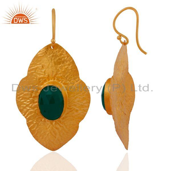 Exporter 18KT Gold Plated Green Onyx Gemstone 925 Sterling Silver Dangle Earrings