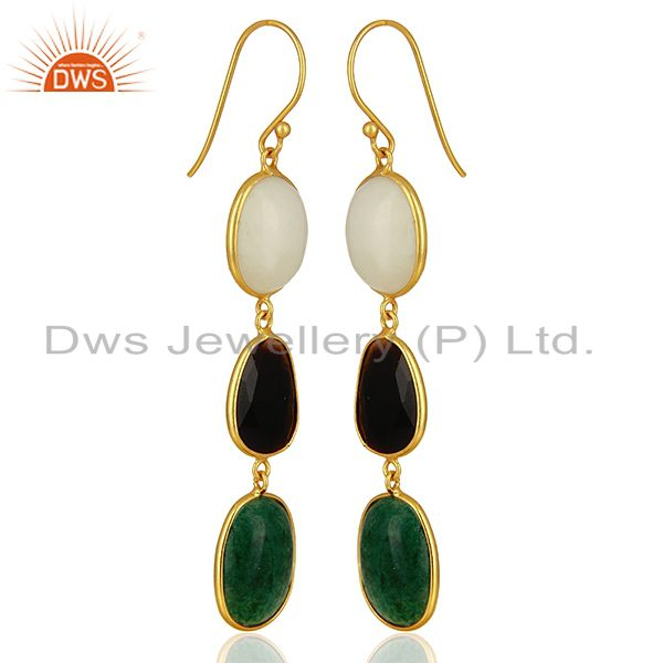 Exporter 18K Yellow Gold Plated Sterling Silver Green Jade And Black Onyx Dangle Earrings