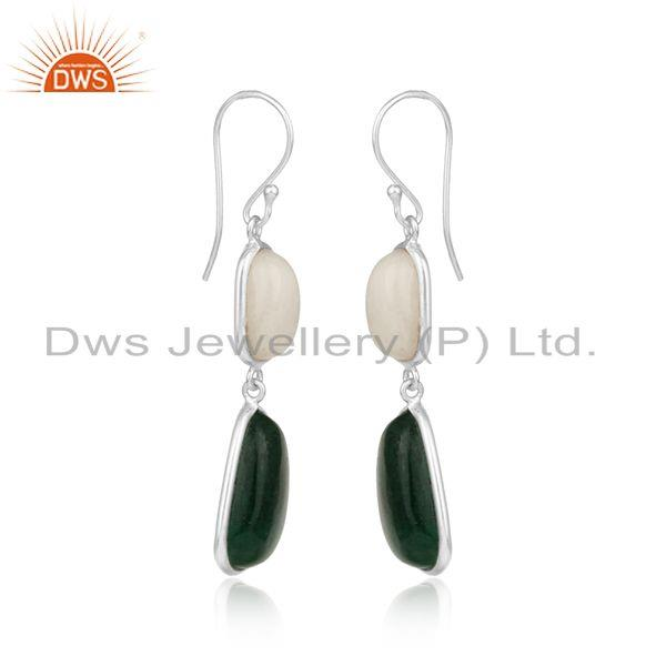 Handcrafted silver 925 dangle with white agate and green jade