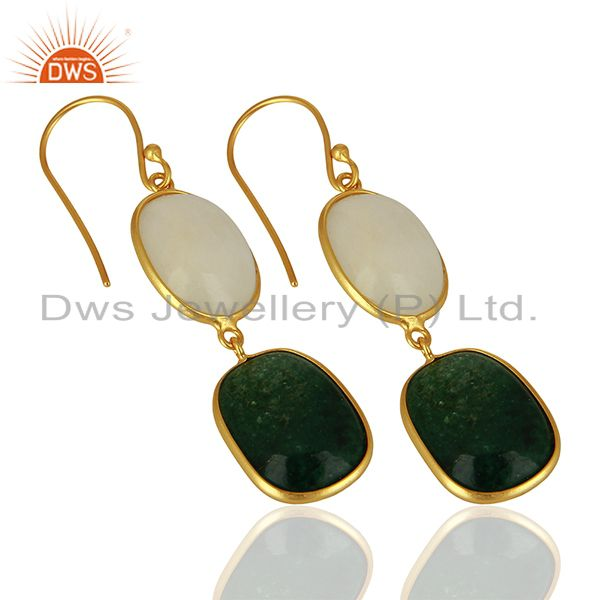 Exporter 18K Gold Plated Sterling Silver White Agate And Green Jade Dangle Earrings