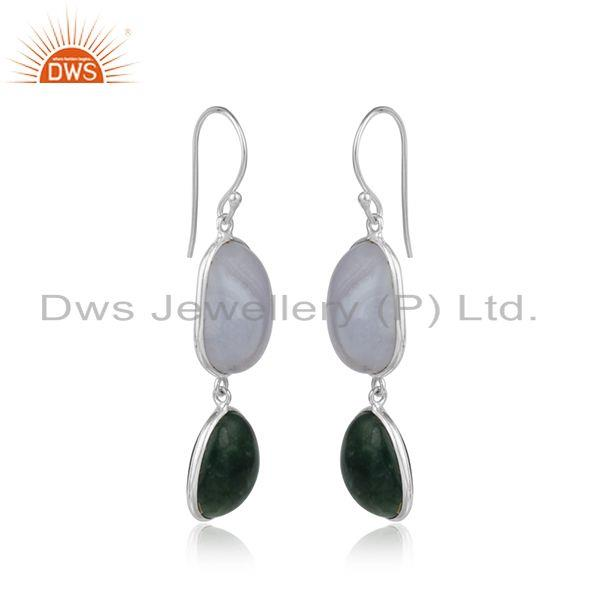 Handmade sterling silver dangle with blue lace and green moss agate