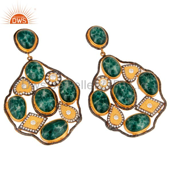 Exporter Handmade Dyed Emerald Gemstone Sterling Silver Gold Plated Designer Look Earring