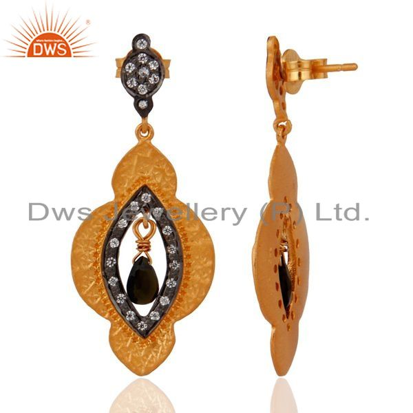 Exporter 925 Sterling Silver Tourmaline Gemstone Yellow Gold Plated Textured Earrings