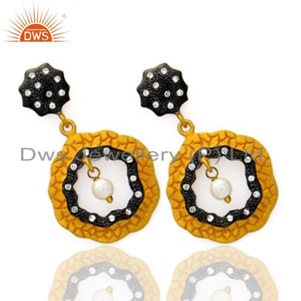 Exporter 18K Yellow Gold Plated Sterling Silver Pearl And Cubic Zirconia Designer Earring