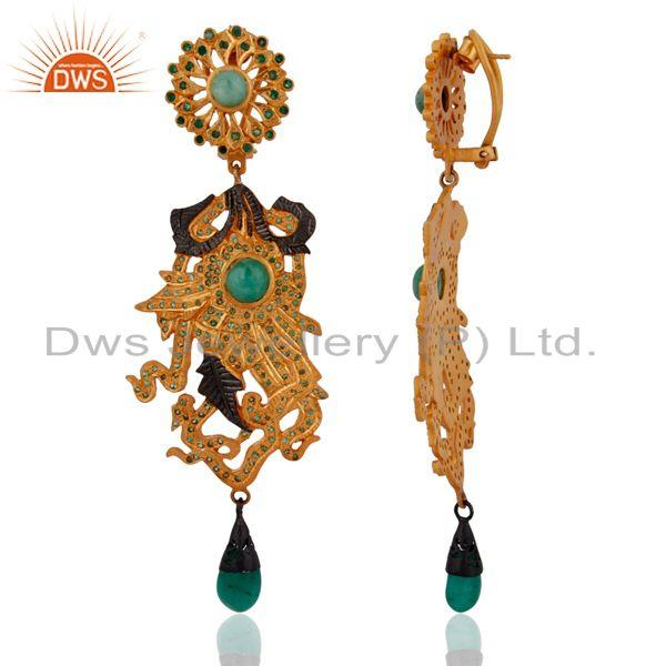 Exporter Handmade Designer Emerlad Gemstone 18k Yellow Gold Over Sterling Silver Earrings