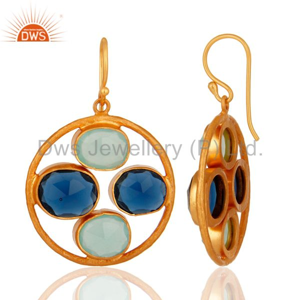 Exporter 18K Gold Plated Sterling Silver Aqua Glass & Blue Corundum Gemstone Earrings