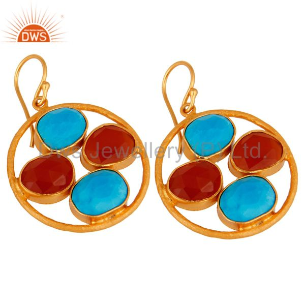 Exporter 18K Gold Over Sterling Silver Handmade Turquoise & Carnelian Gemstone Earrings
