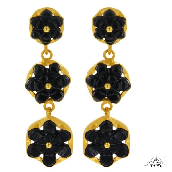 Exporter Designer Sterling Silver Gold Plated Hand Carved Semi Precious Stone Black Onyx