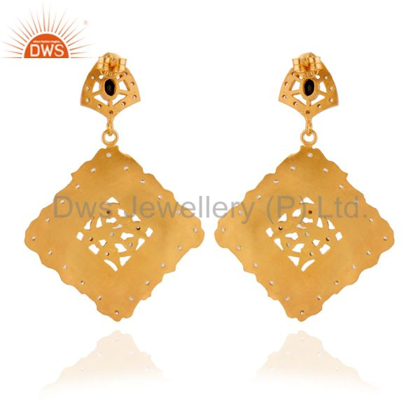 Exporter 22K Gold Plated Sterling Silver Brushed Finish Black Onyx And CZ Dangle Earrings