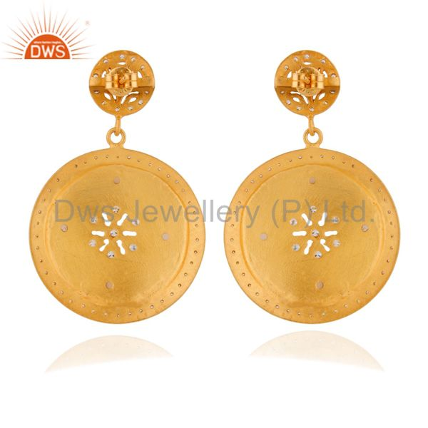 Exporter 22K Matte Yellow Gold Plated Silver Rose Chalcedony And CZ Disc Dangle Earrings