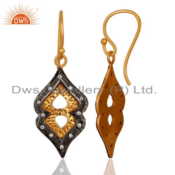 Exporter Handmade Gold Plated 925 Sterling Silver & Cubic Zirconia Designer Earring