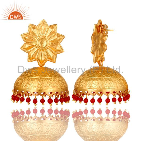 Exporter 14K Yellow Gold Plated Sterling Silver Red Coral Ethnic Designer Jhumka Earrings