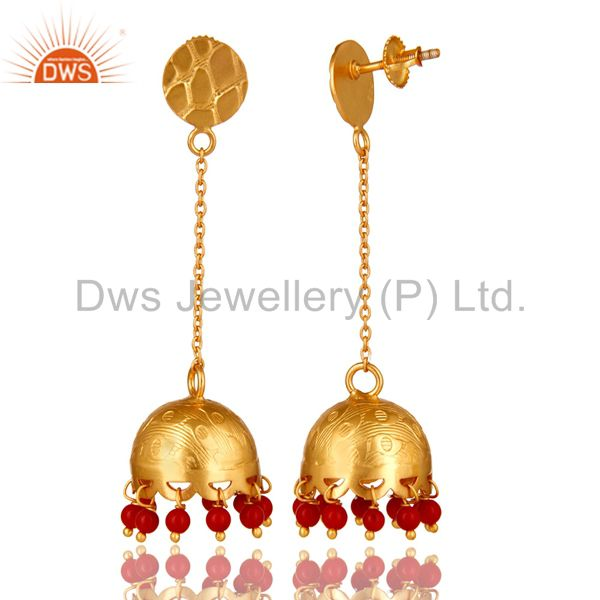 Exporter Handmade 925 Sterling Silver 18K Gold Plated Red Coral Indian Jhumka Earrings