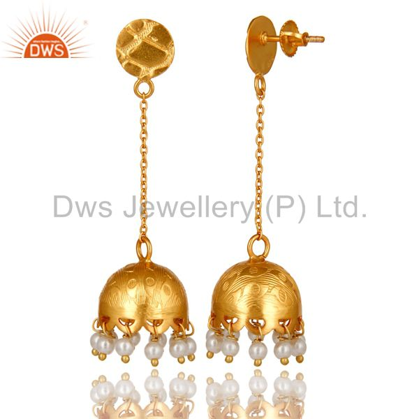 Exporter Natural Pearl Sterling Silver 925 18k Gold Plated Indian Earring For Women