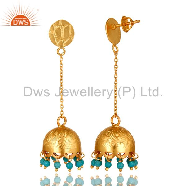 Exporter Turquoise Gemstone 18 K Gold Over 925 Sterling Silver Fashion Dangle Earrings