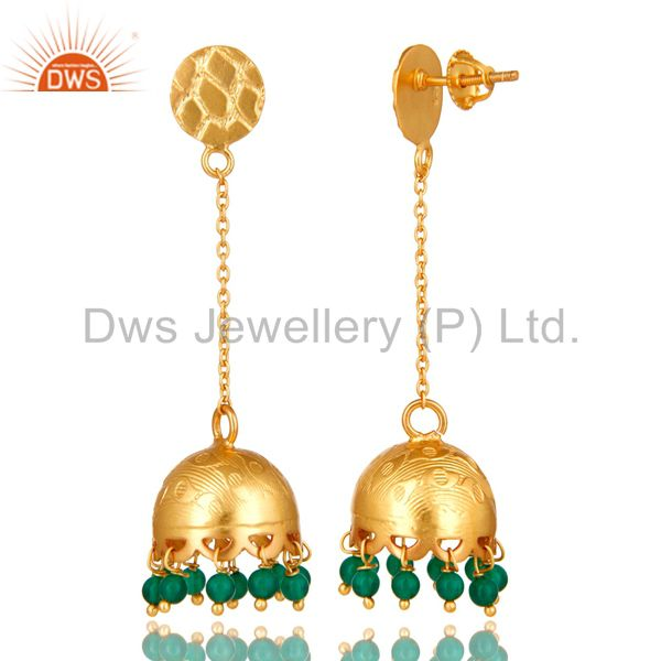 Exporter 18K Yellow Gold Plated 925 Sterling Silver Natural Green Onyx Dangle Earrings