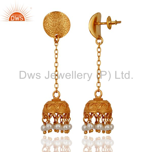 Exporter 925 Sterling Silver 18k Yellow Gold Plated Natural Pearl Designer Earrings