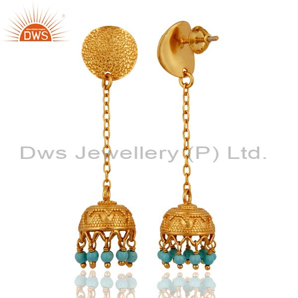 Exporter 18K Gold Plated Sterling Silver 925 Natural Turquoise Gemstone Dangle Earring