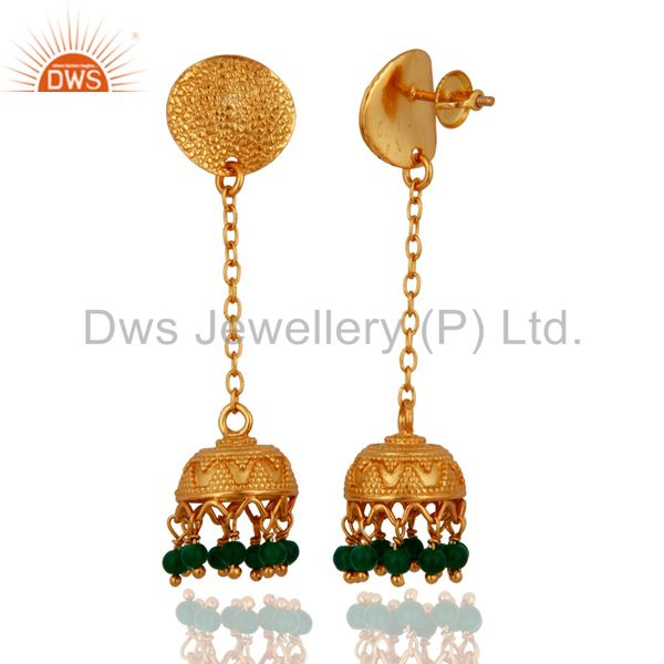 Exporter Emerald Green Onyx Sterling Silver 22k Gold Plated Indian Handmade Art Earrings