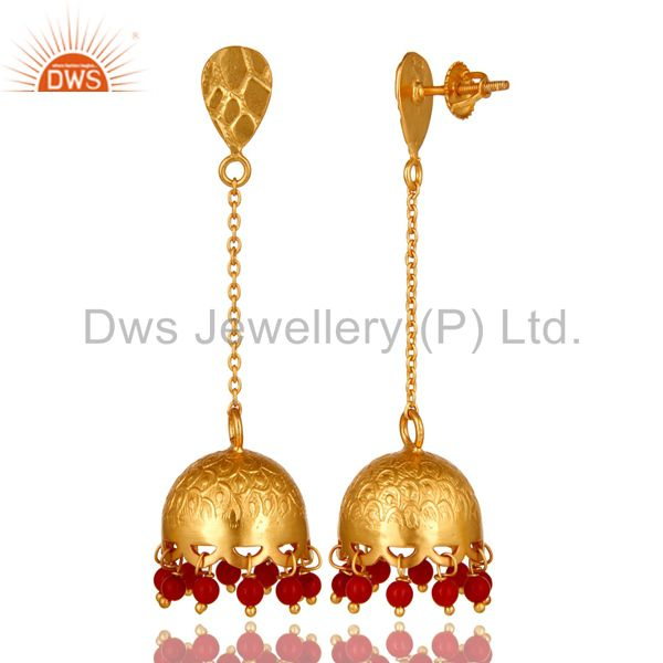Exporter Designer Red Coral Gemstone 22K Gold Over 925 Silver Indian Style Jhumka Earring