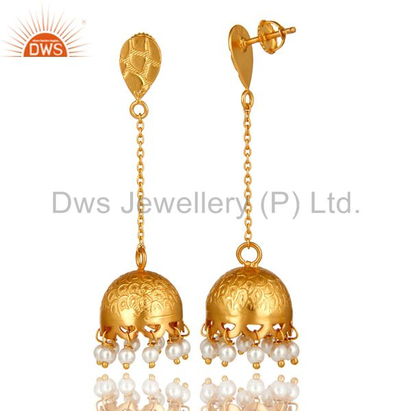 Exporter Genuine Pearl 925 Sterling Silver 22k Yellow Gold Plated Women Fashion Earrings
