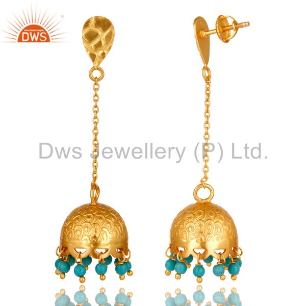 Exporter 18 k Gold Plated 925 Sterling Silver Gemstone Turquoise Chandelier Earring