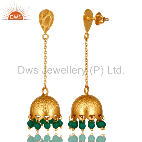 Exporter Green Onyx Sterling Silver 22k Gold Plated Indian Traditional Design Earrings