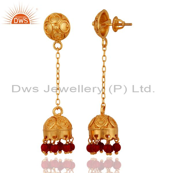Exporter Natural Red Coral 18K Gold On 925 Sterling Silver Indian Jewelry Jhumka Earrings
