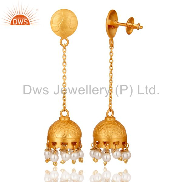 Exporter Indian Traditional Style 18k Gold Plated Sterling Silver Pearl Dangle Earrings