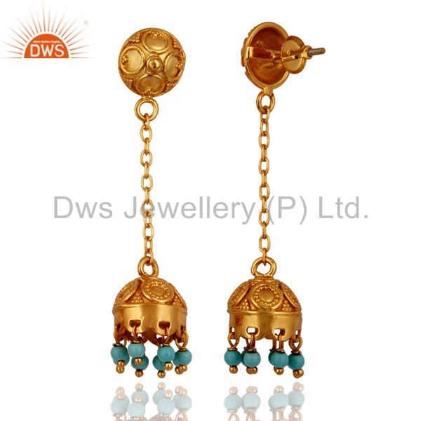 Exporter Excellent Quality 18k Gold Over Sterling Silver Turquoise Indian Style Earrings