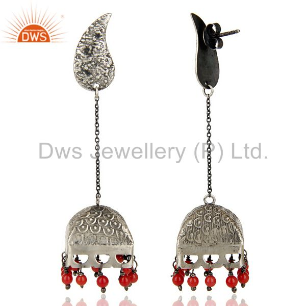 Exporter Black Oxidized 925 Sterling Silver Handmade Red Coral Jhumka Earrings Jewerly