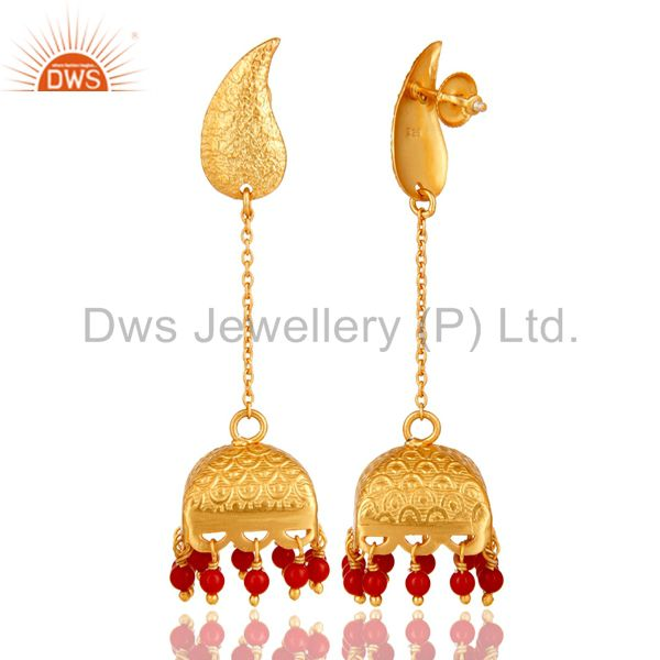 Exporter 22K Gold Plated 925 Sterling Silver Handmade Red Coral Jhumka Earrings Jewerly