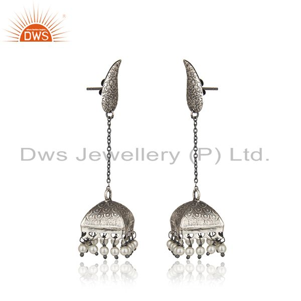 Exporter Black Oxidized 925 Sterling Silver Pearl Beads Gemstone Jumka Earrings Jewelry