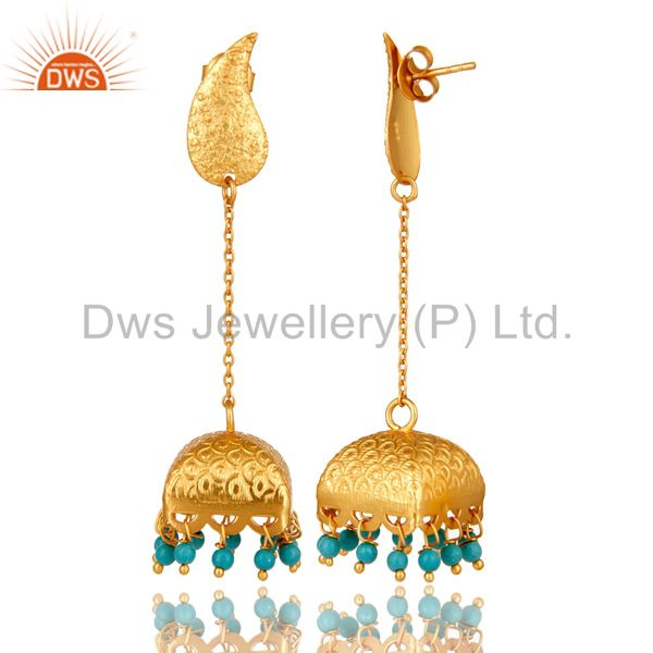 Exporter 22k Gold Plated 925 Sterling Silver Natural Turquoise Bridal Dangle Earrings