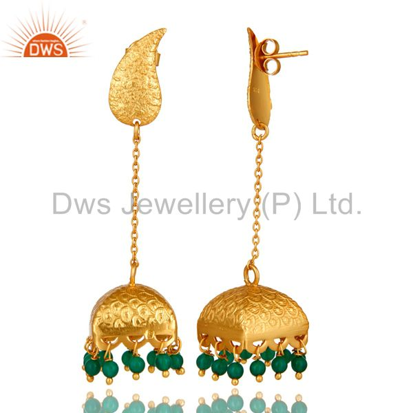 Exporter 18k Gold Plated Indian Ethnic Sterling Silver Onyx Traditional Bridal Earrings