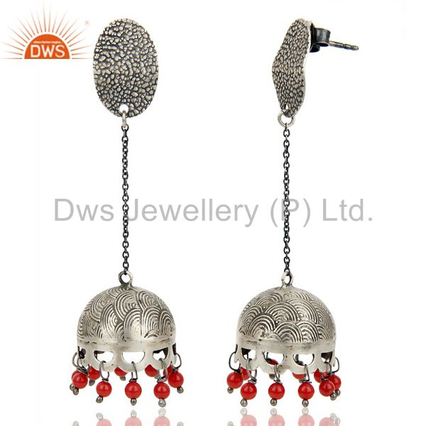 Exporter Black Oxidized 925 Sterling Silver Traditional Red Coral Gemstone Jhumka Earring